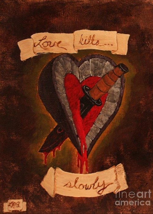 Tattoo Greeting Card featuring the painting Because All Hearts Bleed by Lelan Gimnick
