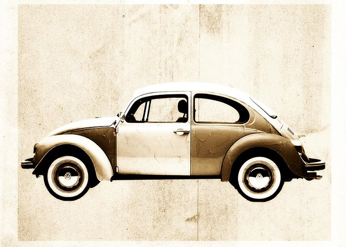 Beetle Greeting Card featuring the digital art Beetle Car by David Ridley