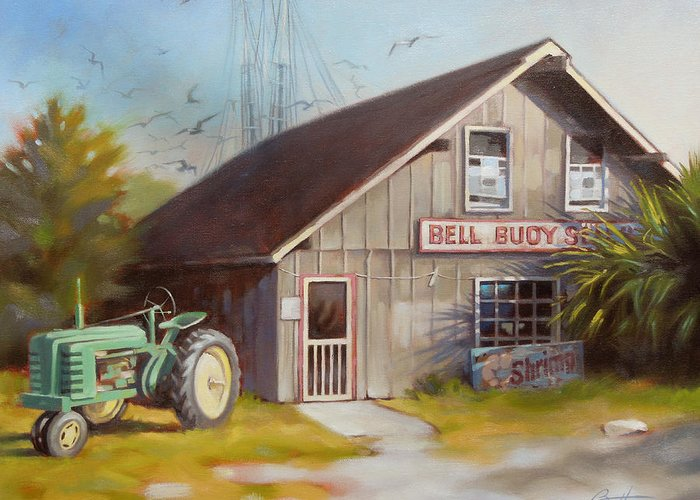 Bell Buoy Greeting Card featuring the painting Bell Buoy 1 by Todd Baxter