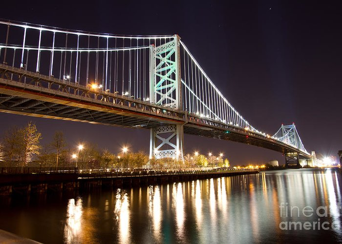 Benjamin Franklin Greeting Card featuring the photograph Benjamin Franklin Bridge by Laarni Montano