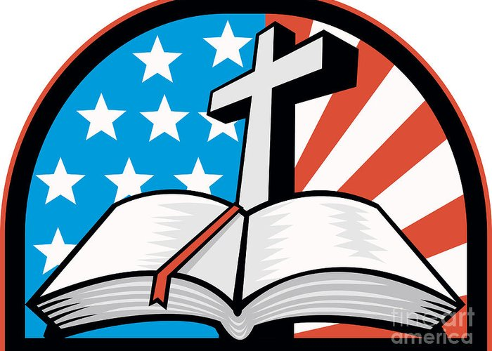 Holy Bible Greeting Card featuring the digital art Bible With Cross American Stars Stripes by Aloysius Patrimonio