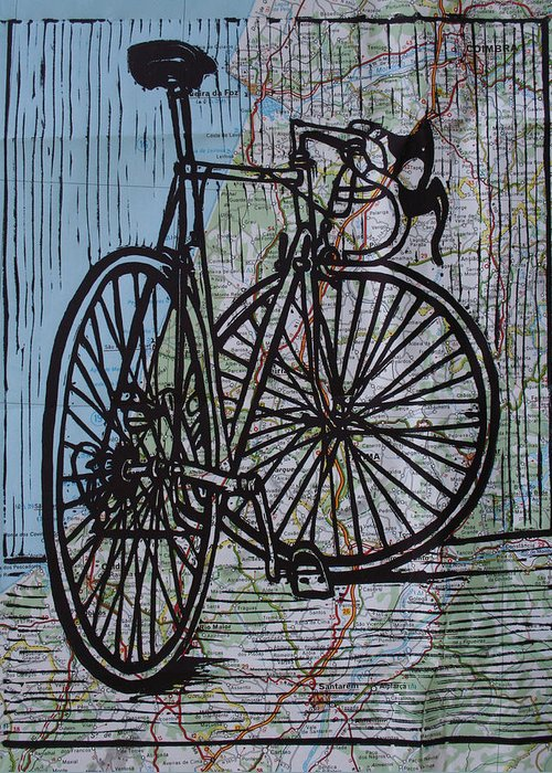 Bike Greeting Card featuring the drawing Bike 4 On Map by William Cauthern
