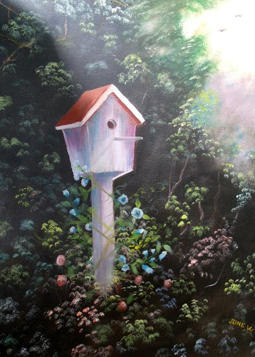 Bird House Greeting Card featuring the painting Bird House by June Weaver