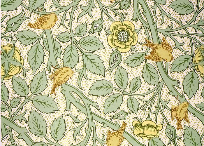 Wallpaper Greeting Card featuring the drawing Bird Wallpaper Design by William Morris