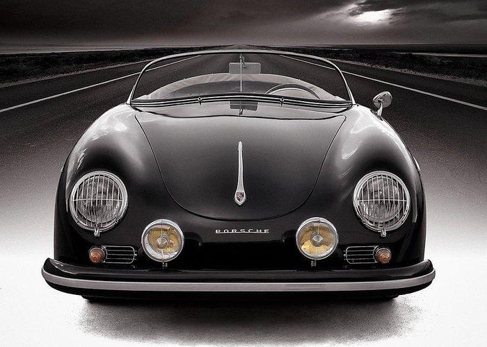 Porsche Greeting Card featuring the photograph Black Porsche Speedster by Douglas Pittman