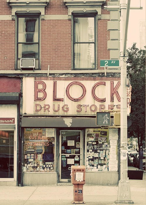 Manhattan Greeting Card featuring the photograph Block Drug Store by Newyorkcitypics Bring your memories home