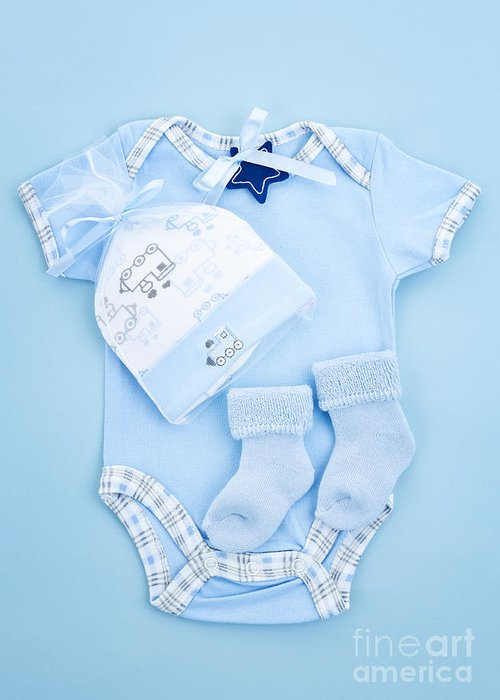 Baby Clothes Greeting Card featuring the photograph Blue Baby Clothes For Infant Boy by Elena Elisseeva
