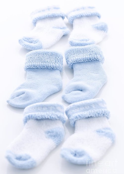 Socks Greeting Card featuring the photograph Blue Baby Socks by Elena Elisseeva