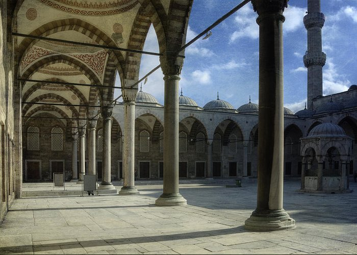Sunrise Greeting Card featuring the photograph Blue Mosque Courtyard by Joan Carroll