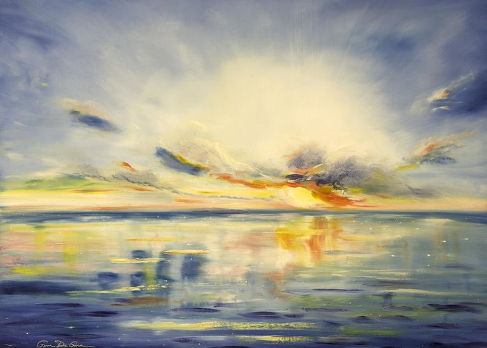 Blue Greeting Card featuring the painting Blue Sunset by Gina De Gorna