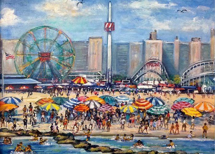 Sea Beach Boardwalk Greeting Card featuring the painting Boardwalk New Jersey by Philip Corley