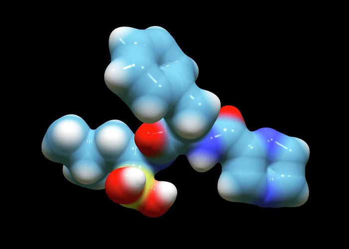 Structure Greeting Card featuring the photograph Bortezomib Cancer Drug Molecule by Dr Tim Evans