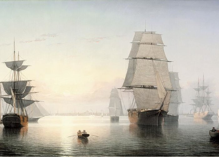 Fitz Henry Lane Greeting Card featuring the painting Boston Harbor Sunset by Fitz Henry Lane