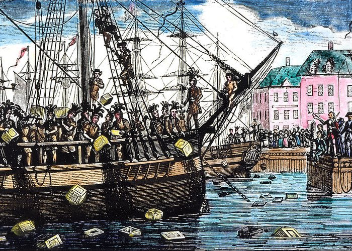 1773 Greeting Card featuring the photograph Boston Tea Party, 1773 by Granger