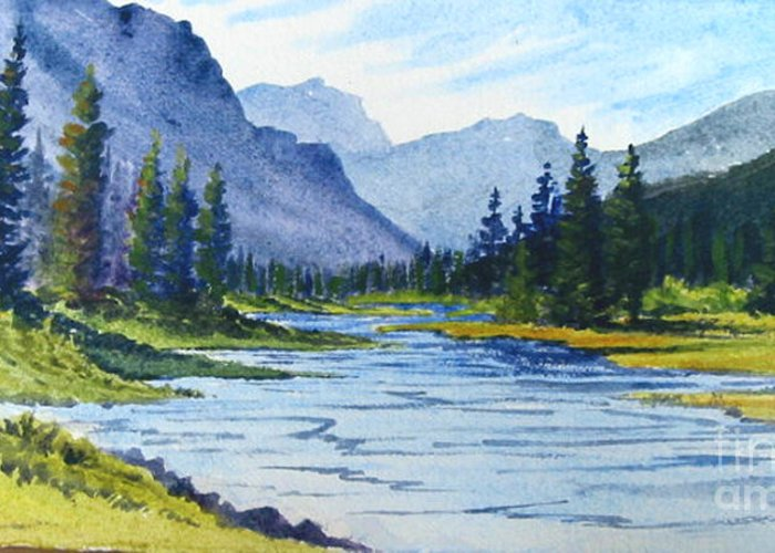 Bow River Greeting Card featuring the painting Bow River by Diane Ellingham