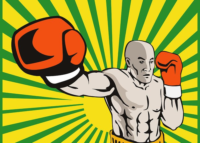 Boxer Greeting Card featuring the digital art Boxer Boxing Jabbing Front by Aloysius Patrimonio