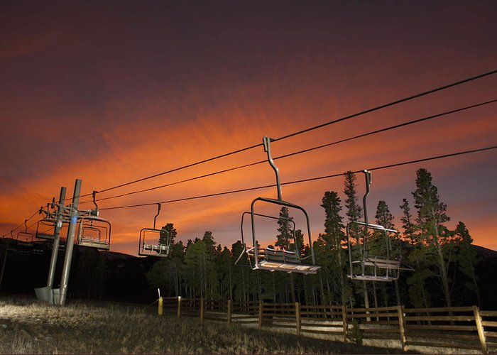 Landscape Greeting Card featuring the photograph Breckenridge Chairlift Sunset by Michael J Bauer