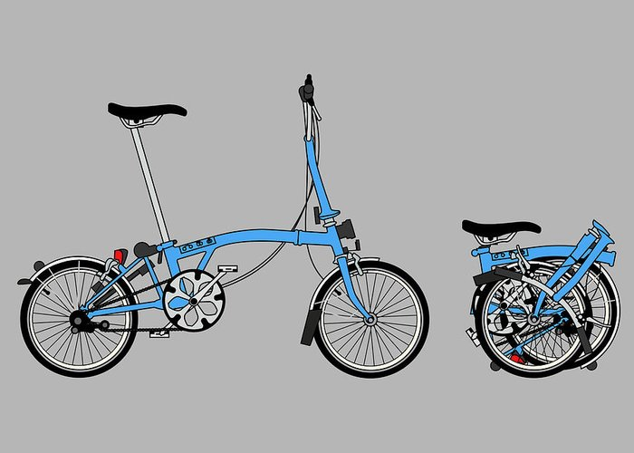 Bike Greeting Card featuring the digital art Brompton Bicycle by Andy Scullion