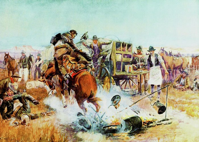 Charles Russell Greeting Card featuring the digital art Bronc For Breakfast by Charles Russell