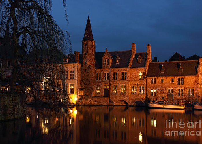 Architecture Greeting Card featuring the photograph Bruges Rozenhoedkaai Night Scene by Kiril Stanchev