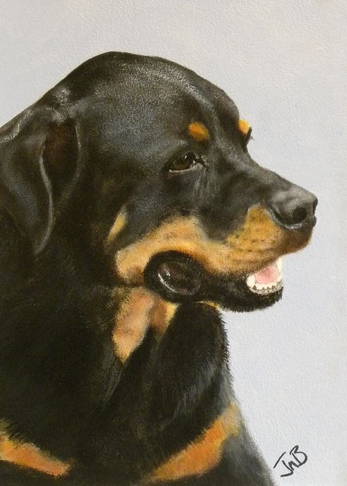 Dog Greeting Card featuring the painting Bruno the Rottweiller by Janice M Booth