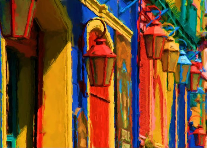 Buenos Aires Caminito Tango Theatre Painting Greeting Card featuring the digital art Buenos Aires Caminito Tango Theatre Painting by Asbjorn Lonvig