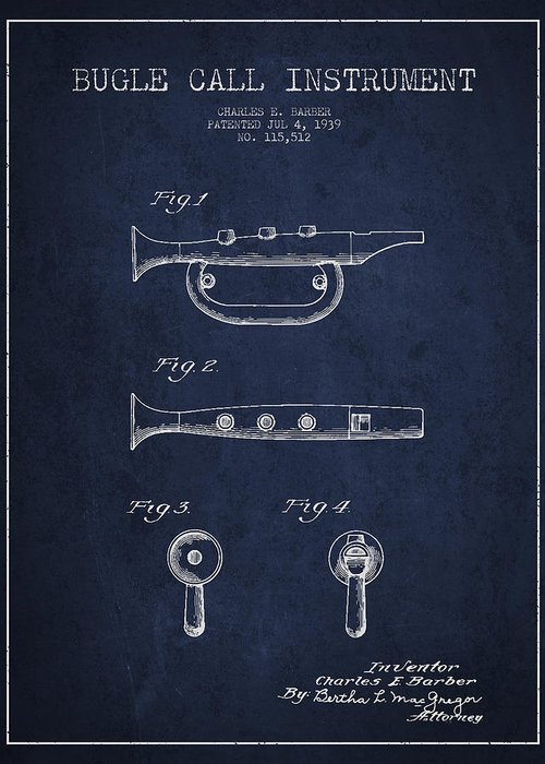 Bugle Greeting Card featuring the digital art Bugle Call Instrument Patent Drawing From 1939 - Navy Blue by Aged Pixel