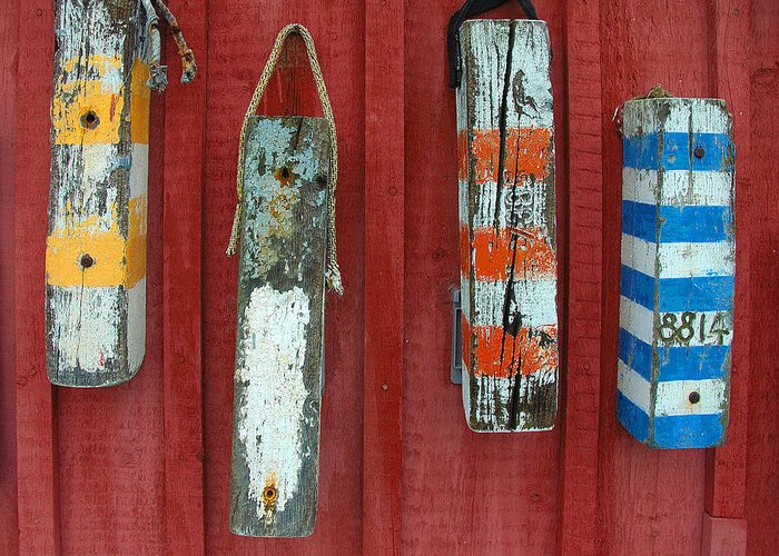 Rockport Greeting Card featuring the photograph Buoys At Rockport Motif Number One Lobster Shack Maritime by Jon Holiday