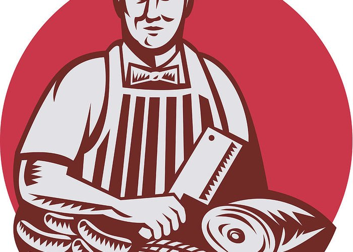Butcher Greeting Card featuring the digital art Butcher Cutter Worker Meat Cleaver Knife Retro by Aloysius Patrimonio