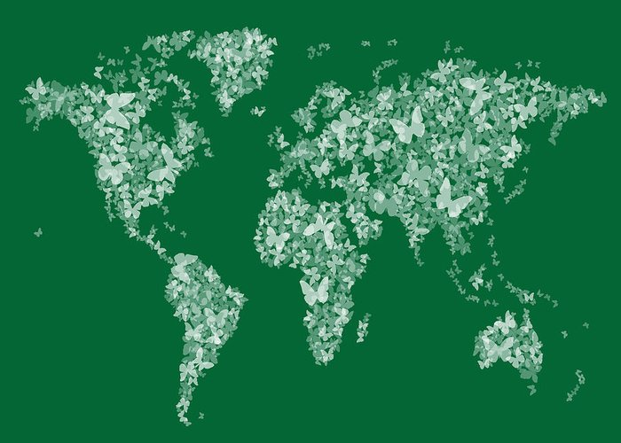 A Map Of The World Made Up From White Semi-transparent Butterfly Silhouettes On A Green Background. Greeting Card featuring the digital art Butterflies Map Of The World Map by Michael Tompsett