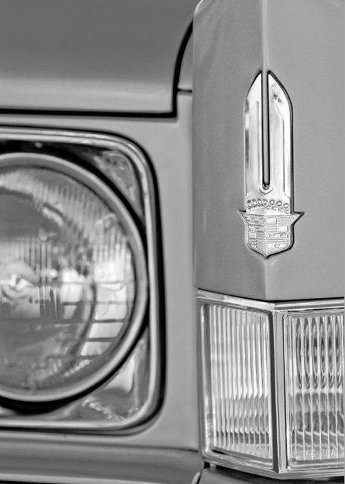 Cadillac Headlight Emblem Greeting Card featuring the photograph Cadillac Headlight Emblem by Jill Reger