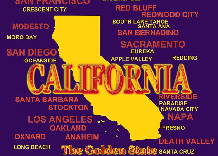 California Greeting Card featuring the photograph California State Pride Map Silhouette by Keith Webber Jr