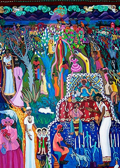 People Greeting Card featuring the painting Calling The Spirits by Maria Alquilar