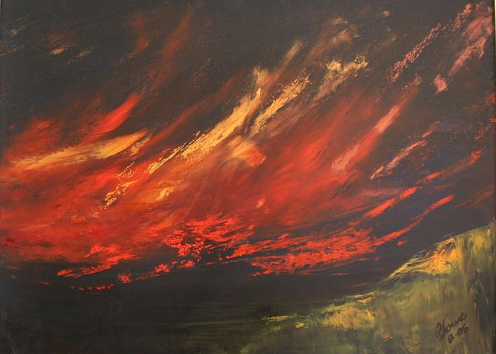 Clouds Greeting Card featuring the painting Camberwell Skies by Jan Lowe
