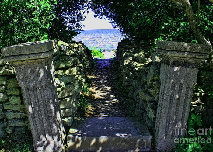Cana Island Greeting Card featuring the photograph Cana Island Walkway Wi by Tommy Anderson