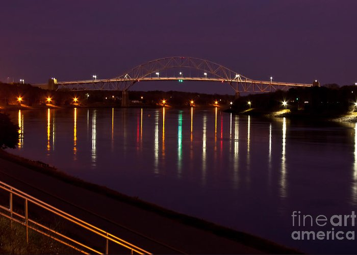 Water Greeting Card featuring the photograph Canal At Night by Wayne Valler