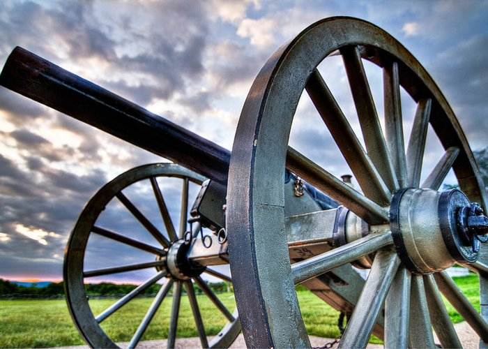 Abraham Greeting Card featuring the photograph Cannon Over Gettysburg by Andres Leon
