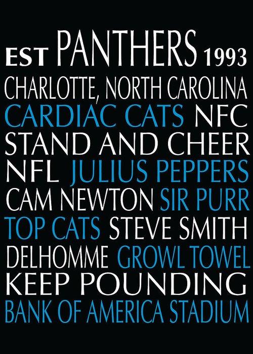 Carolina Greeting Card featuring the digital art Carolina Panthers by Jaime Friedman