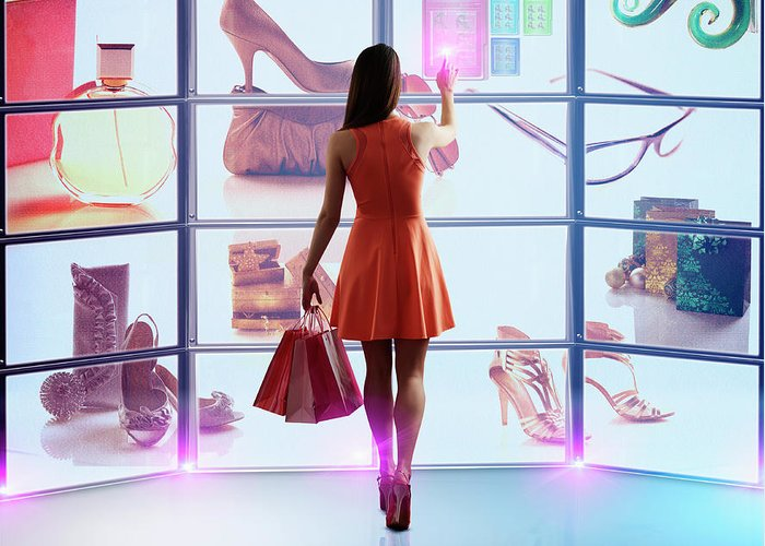Internet Greeting Card featuring the photograph Caucasian Woman Shopping Online by Colin Anderson Productions Pty Ltd