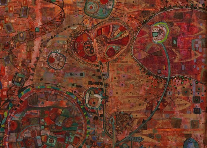 Cells Greeting Card featuring the painting Cellular Pathways by Alise Loebelsohn