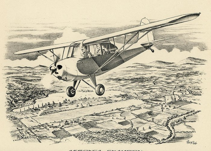Aeronca Greeting Card featuring the drawing Champ by Hank Clark