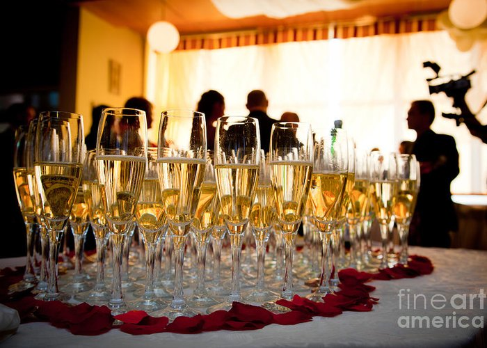 Party Greeting Card featuring the photograph Champagne Glasses At The Party by Michal Bednarek