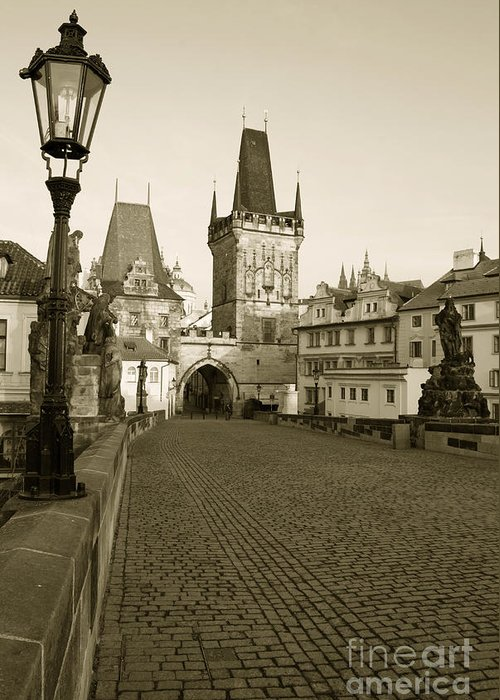 Charles Bridge Greeting Card featuring the photograph Charles Bridge In Prague by Sarka Olehlova