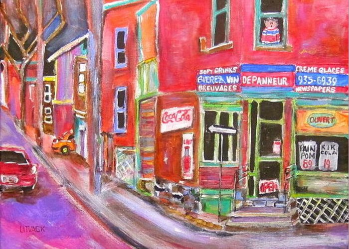 Depanneur Greeting Card featuring the painting Charlevoix Depanneur by Michael Litvack