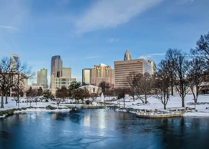 Charlotte Greeting Card featuring the photograph Charlotte North Carolina Marshall Park In Winter by Alex Grichenko