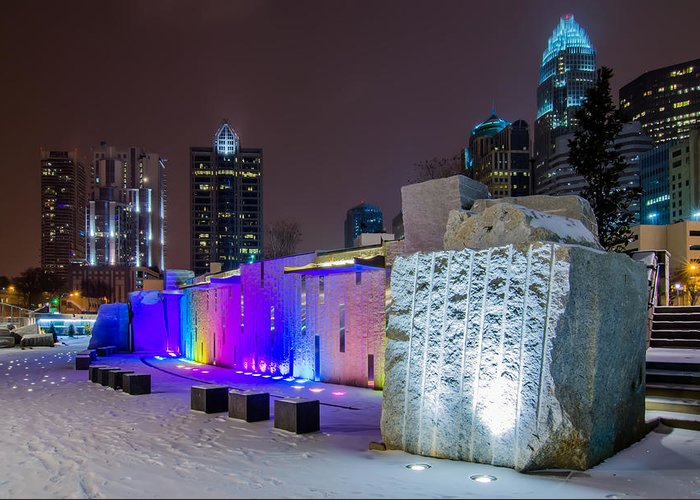 Charlotte Greeting Card featuring the photograph Charlotte Queen City Skyline Near Romare Bearden Park In Winter Snow by Alex Grichenko