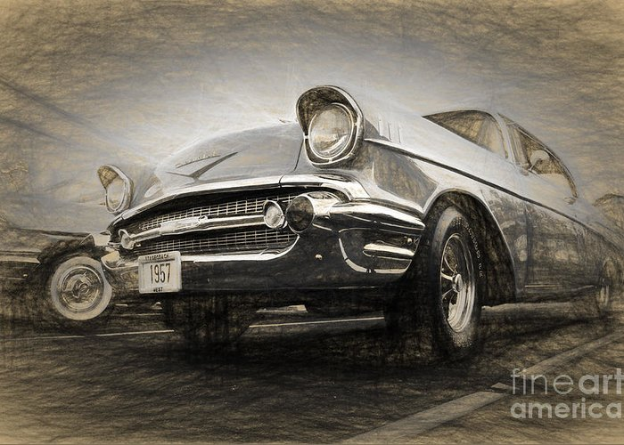 Cars Greeting Card featuring the digital art Chevrolet Belair 1957 by Perry Van Munster