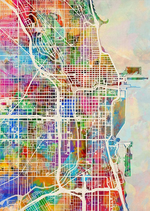 America City Map Greeting Cards