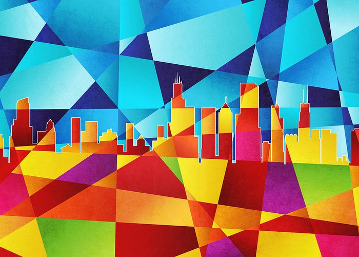 Abstract Skyline Greeting Cards