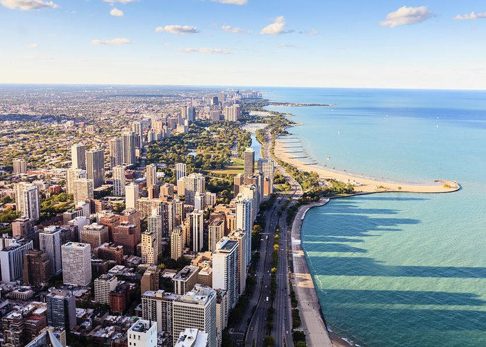 Water's Edge Greeting Card featuring the photograph Chicago Lakefront Skyline by Fraser Hall